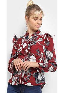 Camisa Manga Longa Heli Floral Babados Feminina - Feminino-Vermelho