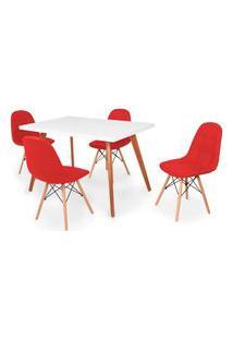 Conjunto Mesa De Jantar Gih 120X80Cm Branca Com 4 Cadeiras Botonê - Vermelho