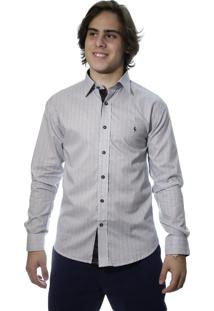 Camisa Zimpool Social Slim Fit Manga Longa Cinza 1