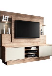Estante Home Theater Para Tv Até 55 Polegadas Aron Smart Naturale/Fendi - Linea Brasil