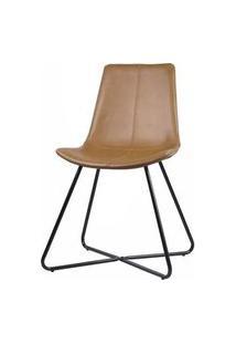 Cadeira Balle Courino Caramelo Base Preto 84Cm - 62862 62862