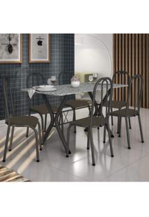 Conjunto De Mesa Com 6 Cadeiras Miami Fabone Móveis Preto Prata/Café