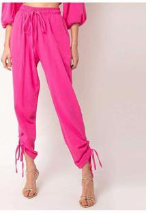Calça Malha Elora Textura Feminina Rosa