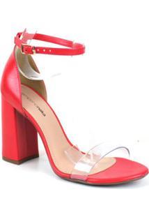 Sandalia Emporionaka Calf Feminina - Feminino-Vermelho