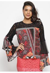 Blusa De Arabescos Com Renda- Preta & Vermelhawool Line