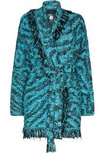 Alanui Cardigan Pool Com Franjas E Cinto - Azul