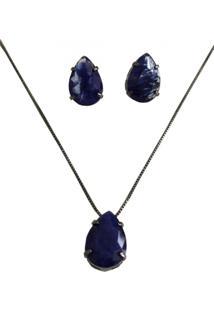 Conjunto Opção Da Modacolar Brinco Semi Jóia Gota Em Pedra Fusion Azul Marinho Em Ródio Negro 16