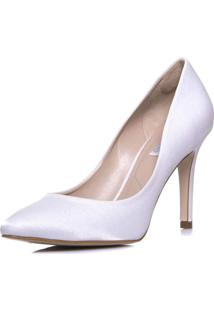 Scarpin Durval Calçados Noiva Salto Alto Cetim Velvet - Se9290 Off White