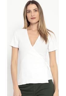 Blusa Canelada Com Transpasse- Off White- Colccicolcci