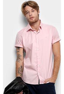 Camisa Manga Curta Ellus Tricoline Masculina - Masculino-Rosa