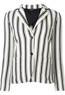 Max Mara Perak Striped Blazer - Branco
