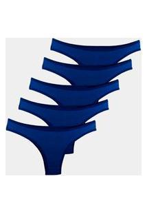 Kit 5 Calcinhas Tanga Try Basics Algodão Cotton Básica Lisa Moda Lingerie Azul