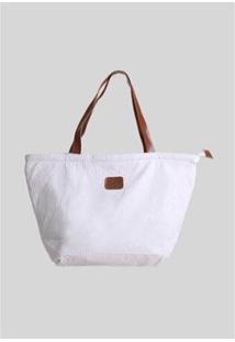 Bolsa Praaiah Com Zíper Texture Feminina - Feminino-Branco