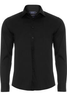 Camisa Masculina Social Slim - Preto