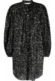 Isabel Marant Étoile Button-Front Cotton Mini Dress - Preto