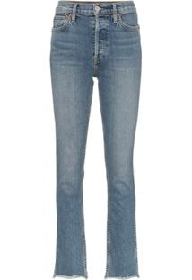Re/Done Double Needle Long Straight Leg Jeans - Azul