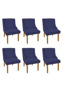 Kit 06 Cadeiras De Jantar Liz Suede Azul Marinho Pés Palito Castanho D'Rossi