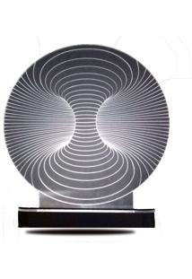 Abajur/Luminária De Mesa Em Acrílico Túnel 3D Com Led Branco