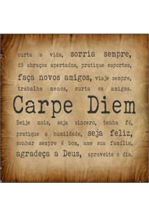 Placa Decorativa Carpe Diem 25X25 Cm Preto