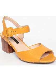 Sandália Em Couro- Amarela- Salto: 6,5Cm- Jorge Jorge Bischoff