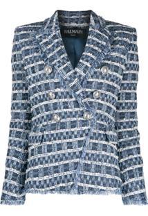 Balmain Blazer De Tweed Com Abotoamento Duplo - Azul