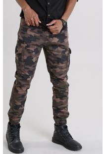 Calça Masculina Jogger Cargo Estampada Camuflada Em Algodão + Sustentável Verde Militar