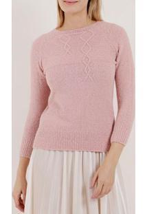Blusão De Tricot Feminino Rosa