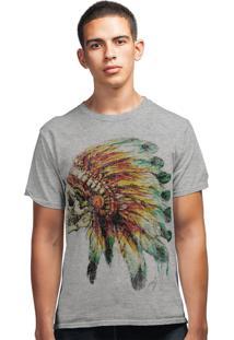 Camiseta Artseries Índio Apache Caveira Cinza