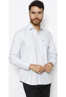 Camisa Slim Fit Com Bolso & Bordado - Azul Claro & Brancvip Reserva