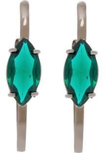 Brinco Haste Longa Semijoia Banho De Ródio Negro Cristal Verde Esmeralda