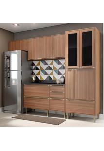 Cozinha Compacta Calábria 10 Portas Com Tampo E Pés Nogueira/Malt - Multimóveis