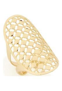 Anel Com Detalhe Oval Vazado Bolas Lisas Sobrepostas Rommanel - Feminino-Dourado