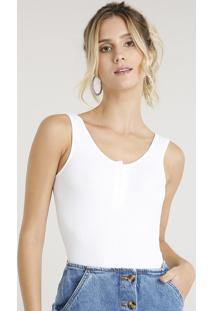 Body Feminino Canelado Com Botões Alça Larga Decote Redondo Off White