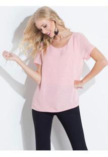 Blusa Rosa Quintess Com Renda Nas Costas