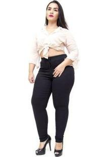 Calça Jeans Cambos Plus Size Skinny Esportiva Julye Feminina - Feminino-Preto