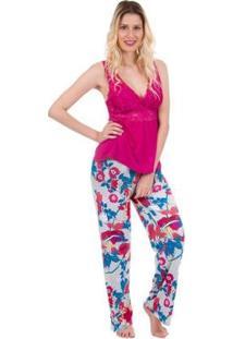 Pijama Feminino Longo Com Regata Inspirate - Feminino-Pink