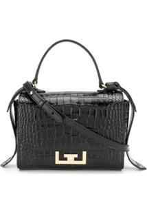 Givenchy Bolsa Transversal Com Efeito Pele De Crocodilo - Preto