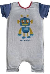 Pijama Curto Comfy Not Robot Cinza