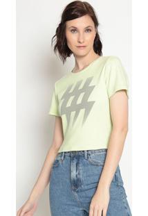 Blusa Cropped Logo- Verde Claro Cinza- Zoompzoomp