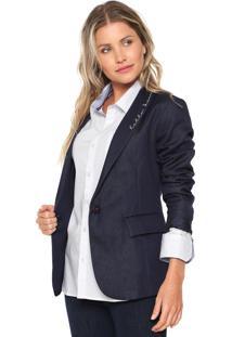 48e7e36f84 Blazer Com Rasgos Poliester feminino. Blazer Carmim Bordado Azul