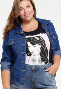 Jaqueta Feminina Jeans Bolsos Plus Size Marisa