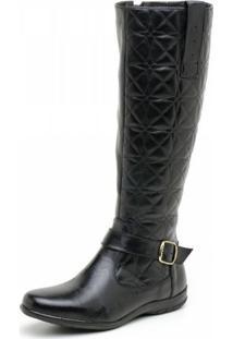 Bota Atron Shoes Couro Matelassê Preto