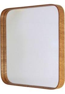 Espelho Formacril Quadrado Com Moldura De Madeira A: 50 Cm X C: 50 Cm Mogno