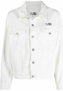 Mm6 Maison Margiela Jaqueta Jeans Com Patch De Logo E Botões - Branco