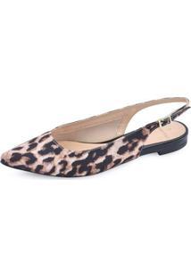 Sapatilha Slingback La Femme Leopardo Feminina - Feminino-Marrom