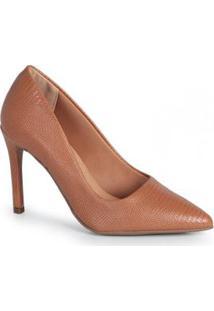 Sapato Scarpin Feno Lizard Caramelo