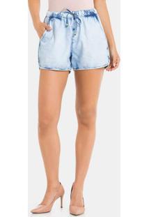 Shorts Jeans Modelagem Bomber