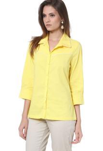Camisa Energia Fashion Com Frizzo Manga 3/4 Amarelo