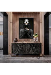 Quadro Noa 90X60Cm Mulheres Negras Maquiagem Dourada Moldura Vidro