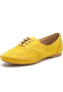 Oxford Em Couro Q&A Casual Amarelo